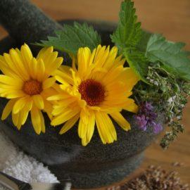 Steinmörser mit Blüten und Blättern