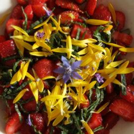Erdbeer-Borretsch-Ringelblumen-Salat