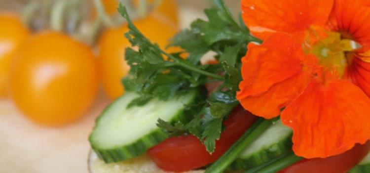 Ein großer halbierter Pilz auf einem Holzbrett, bestrichen mit Mandelbutter, belegt mit Scheiben von Gurke und Tomate und garniert mit Kräutern und einer Kapuzinerkressen-Blüte. Gelbe Tomaten im Hintergrund.