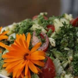 Rohkostsalat, garniert mit orangenen Blüten und verschiedenen Kräutern